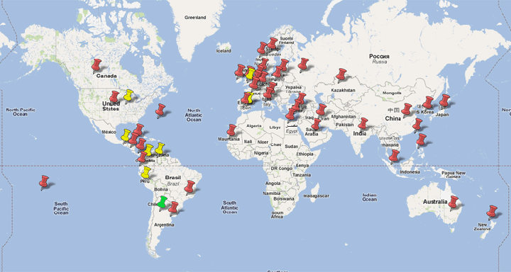 Worldwide locations of 121spanish teachers and students of spanish world map gumiabroncs